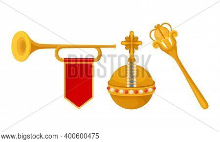 Monarchy Attributes With Golden Scepter And Trumpet Vector Set