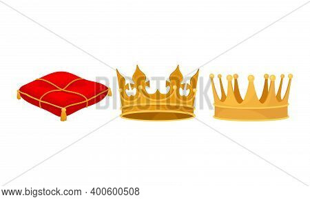 Monarchy Attributes With Golden Crown And Red Pillow Vector Set