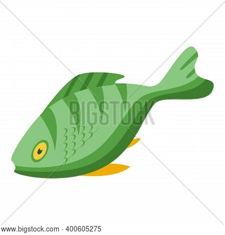 Green Exotic Fish Icon. Isometric Of Green Exotic Fish Vector Icon For Web Design Isolated On White