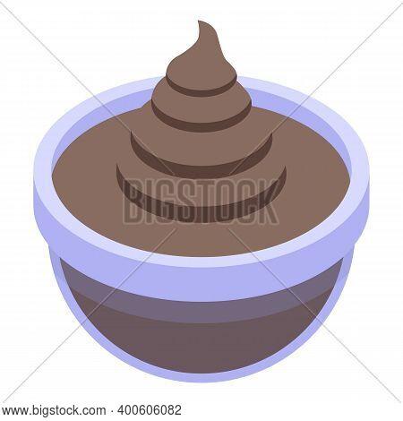 Chocolate Paste Bowl Icon. Isometric Of Chocolate Paste Bowl Vector Icon For Web Design Isolated On