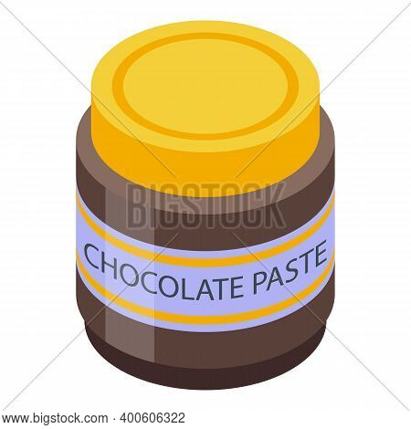 Chocolate Paste Glass Jar Icon. Isometric Of Chocolate Paste Glass Jar Vector Icon For Web Design Is
