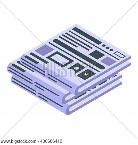 Newspaper Reportage Icon. Isometric Of Newspaper Reportage Vector Icon For Web Design Isolated On Wh