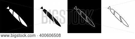 Set Marijuana Joint, Spliff Icon Isolated On Black And White Background. Cigarette With Drug, Mariju