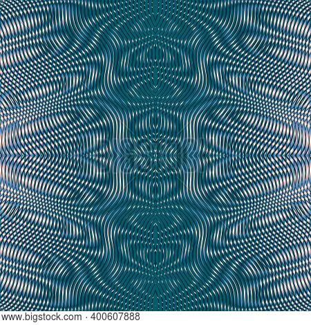 Vector Abstract Ornate Symmetrical Backdrop Of Lines In Trendy Color 2021 Tidewater Green. Contempor