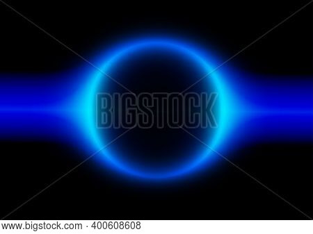 Abstract Blue Neon Circle Ring Frame Round Line Planet Curve With Horizontal Light Blue On Black Bac