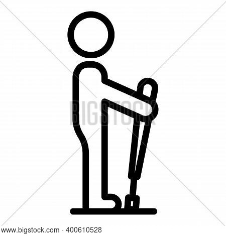 Tourist Nordic Walking Icon. Outline Tourist Nordic Walking Vector Icon For Web Design Isolated On W