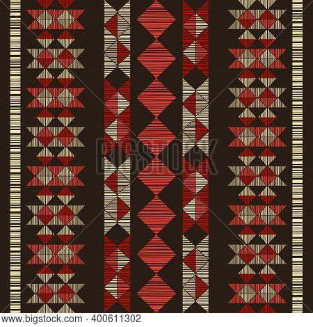 Navajo Mosaic Rug With Traditional Folk Geometric Pattern.