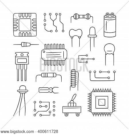 Electronic Radio Components. Set Of Microchip, Diode, Transistor Capacitor, Resistor. Computer Parts