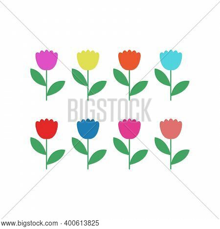 Set Of Flowers Icon., Flower Vector, In Trendy Flat Style Isolated On White Background. Flower Image
