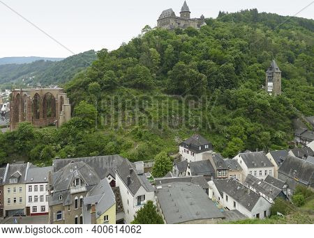 Aerial View Of Bacharach, A Town In The Mainz-bingen District In Rhineland-palatinate, Germany