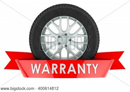 Car Wheel Warranty Service Concept. 3d Rendering Isolated On White Background
