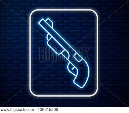 Glowing Neon Line Police Shotgun Icon Isolated On Brick Wall Background. Hunting Shotgun. Vector