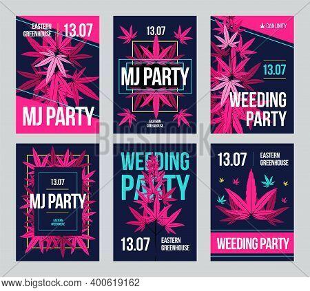 Creative Ganja Party Invitation Designs With Cannabis Leaves. Modern Mj Or Wedding Holiday Invitatio