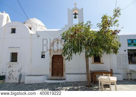Folegandros Island, Greece- 23 September 2020: View Of The Saint Catherine Church. Next To It There