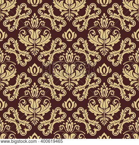 Classic Seamless Brown And Golden Pattern. Damask Orient Ornament. Classic Vintage Background. Orien