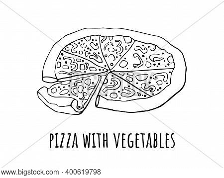 Vector Drawing Of Pizza Slices. Hand Drawn Sketch Pizza Illustration. Great For A Menu, Poster Or La