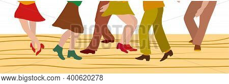 Vector Illustration Line Of Feet Of Men And Women In Shoes In 1920s Style Dancing Charleston, Vector