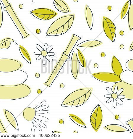 Alternative Medicine Seamless Pattern, Homeopathy, Holistic Medicine, Spa Background, Textile, Packa