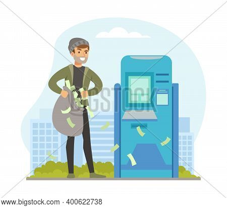 Male Burglars Stealing Money From Atm, Thief Committing Robbery, Lawless Financial Criminal Scene Fl