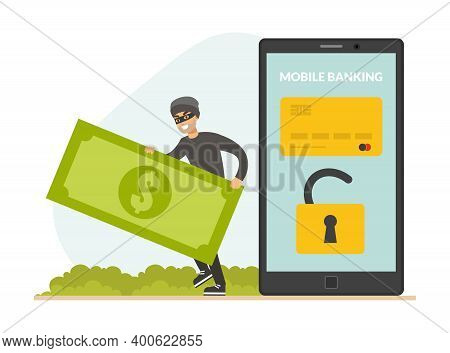 Cyber Theft Hacking Smartphone And Stealing Money From Credit Card, Hacker Attacking Phone With Pers