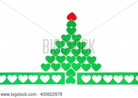 Green Christmas Tree Made From Hearts. Abstract Cute Decorative Illustration For Invitation. New Yea