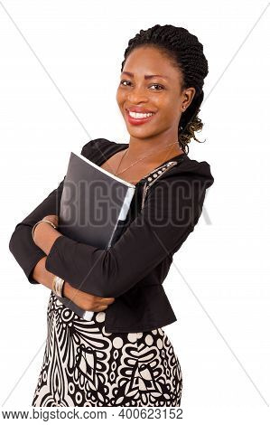 Portrait Of Smiling Businesswoman With Black Backrest On Her Chest, Isolated On White Background