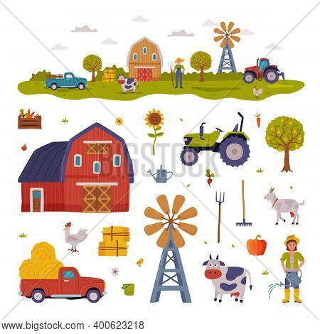 Farm Rural Buildings And Agricultural Objects Set, Farmhouse, Windmill, Tractor, Pickup, Livestock,