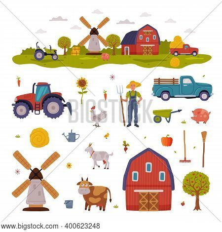 Farm Rural Buildings And Agricultural Objects Set, Barn, Mill, Tractor, Pickup, Livestock, Agricultu