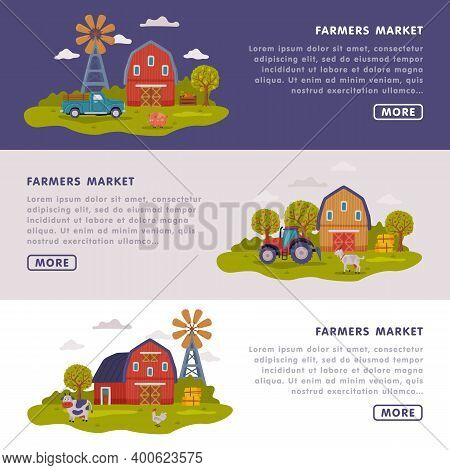 Farmers Market Landing Page Templates Set, Farm Scenes With Agricultural Buildings Website Interface