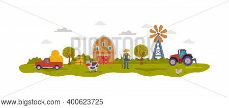 Farm Scene With Barn, Male Farmer, Agricultural Transport And Livestock, Summer Rural Landscape, Agr