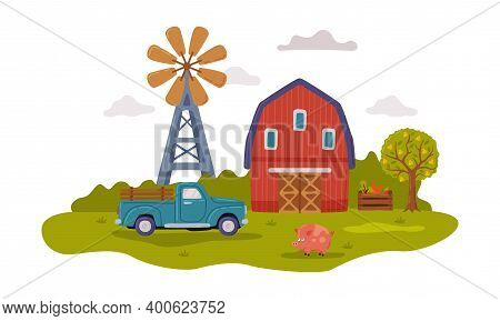 Farm Scene With Red Farmhouse, Tractor And Windmill, Agriculture, Gardening And Farming Concept Cart