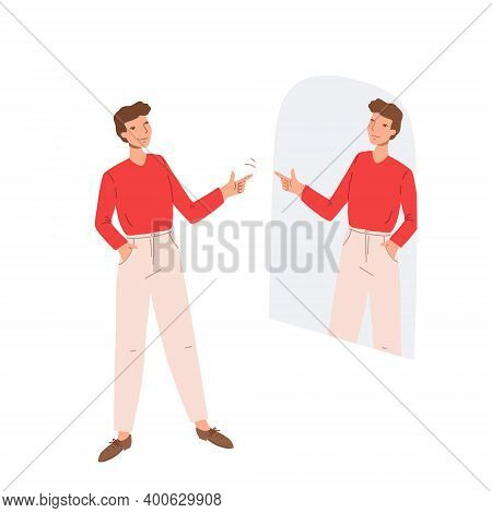 Man Looking In The Mirror And Showing Hand Gesture Of Support And Understanding To His Reflection.gu