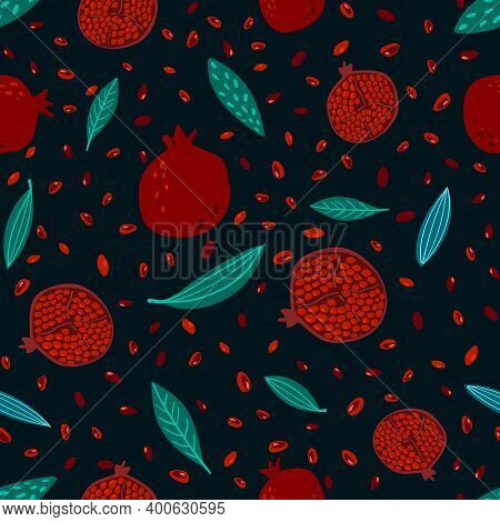 Hand Drawn Seamless Floral Pattern With Decorative Pomegranate Fruits And Leaves. Floral Repeating B