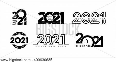 Big Set Of 2021 Happy New Year Symbols. Happy New Year 2021 Logotype. Vector Illustration With Black