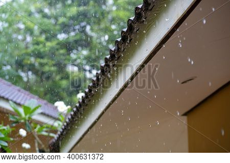 Raindrops Flow Down From The Roof Of A House During A Tropical Downpour