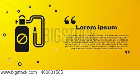 Black Pressure Sprayer For Extermination Of Insects Icon Isolated On Yellow Background. Pest Control