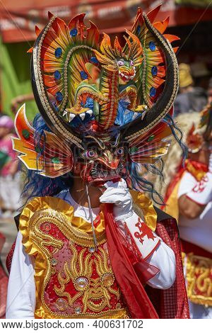 Arica, Chile - January 22, 2016: Masked Man Performing The Diablada (dance Of The Devil) As Part Of