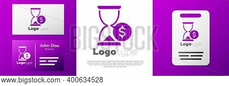 Logotype Hourglass With Dollar Icon Isolated On White Background. Money Time. Sandglass And Money. G