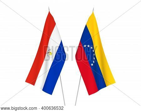 National Fabric Flags Of Paraguay And Venezuela Isolated On White Background. 3d Rendering Illustrat