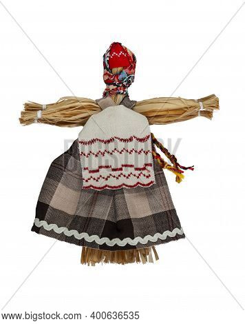 Traditional Home-made Russian Doll Made Of Fabric. A Doll With A White Apron.