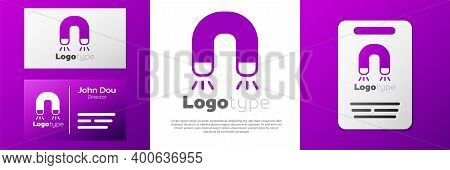 Logotype Magnet Icon Isolated On White Background. Horseshoe Magnet, Magnetism, Magnetize, Attractio