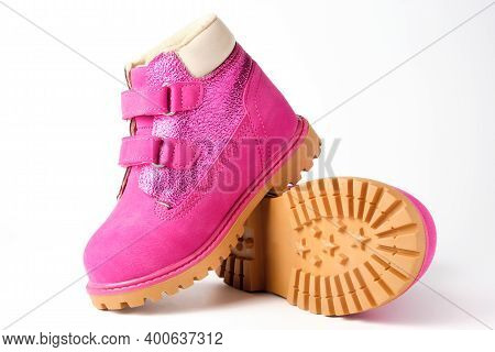 Pink Girls Nubuck Boots Isolated On White. Children Shoes With Velcro Fasteners