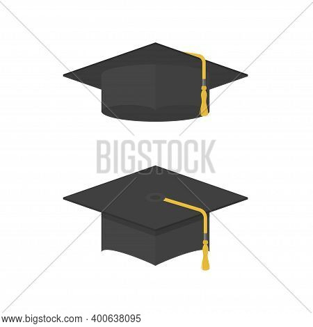 Graduation Cap Icon. Academic, Student Caps Set. Graduation Hat With Tassel. University, School And