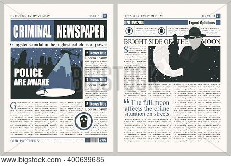 Criminal Newspaper With Unreadable Text, Headlines And Illustrations On The Topic Of Criminal Incide