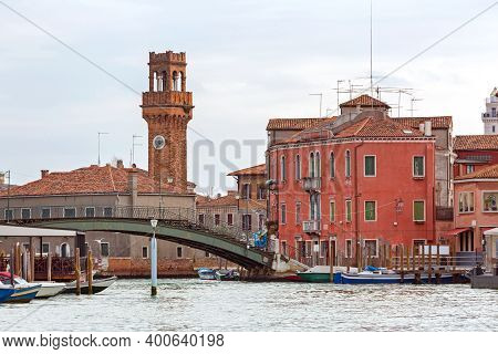 Footbridge Over Canal In Murano Island Venice Italy