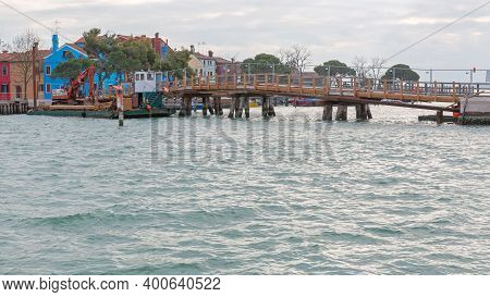 Temporary Footbridge Over Canal In Burano Italy