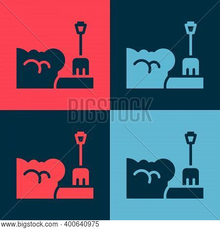 Pop Art Shovel In Snowdrift Icon Isolated On Color Background. Vector