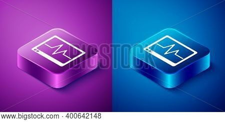 Isometric Computer Monitor With Cardiogram Icon Isolated On Blue And Purple Background. Monitoring I