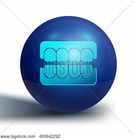 Blue False Jaw Icon Isolated On White Background. Dental Jaw Or Dentures, False Teeth With Incisors.