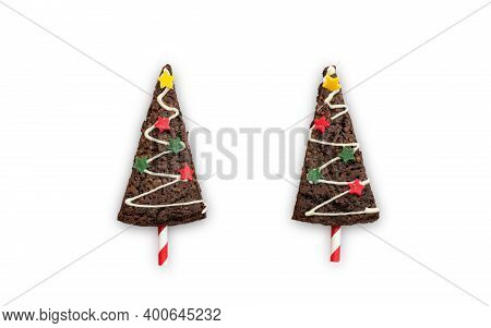 Christmas Sweet, Xmas Tree Chocolate Brownie Isolated On White Background With Clipping Path For X-m